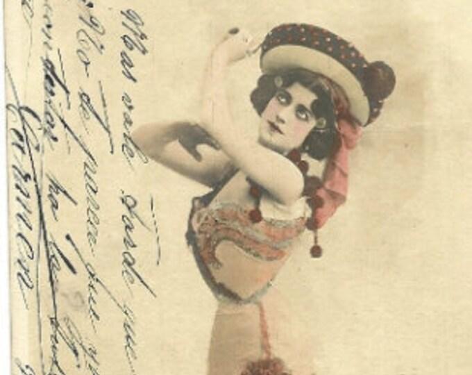 Lucy Florval ( 1901 ) bailarina. Postal original francesa, tintada a mano.