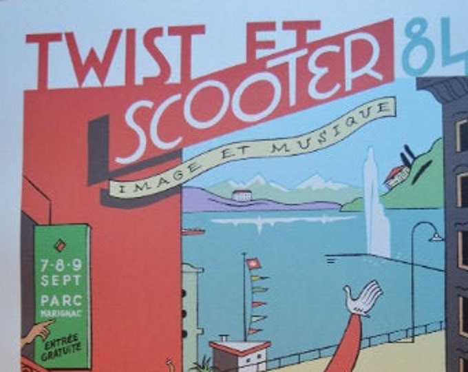 Twist et Scooter (1984) Ever Meulen. Carto print. Signed poster