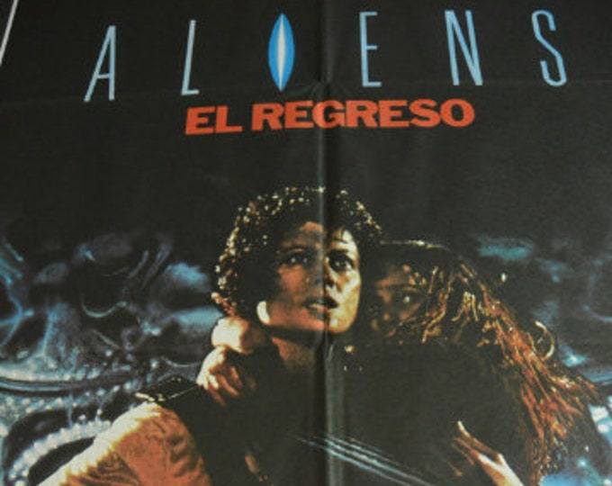 Aliens (The Return) 1986, by James Cameron. Original cinema poster of the premiere in Spain.