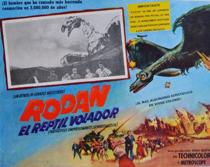 Rodan (1956) . Original lobbycard from the premiere in Mexico.