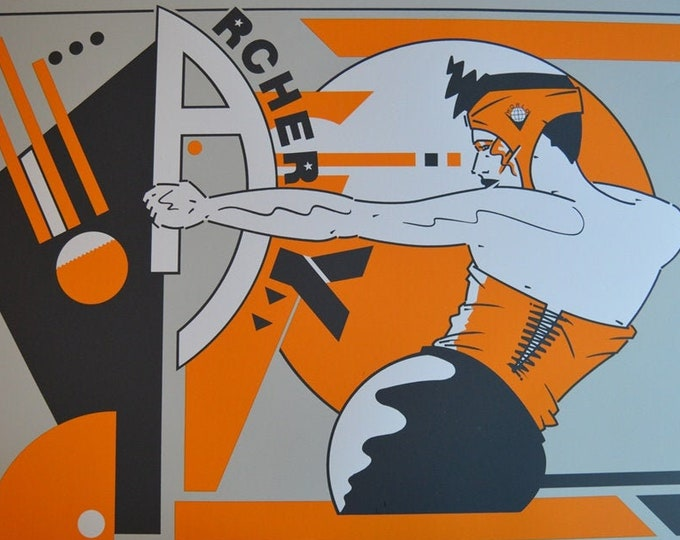 Archery Olympic Dames, by Bruno Bressolin (1986) Original screen print 80s.