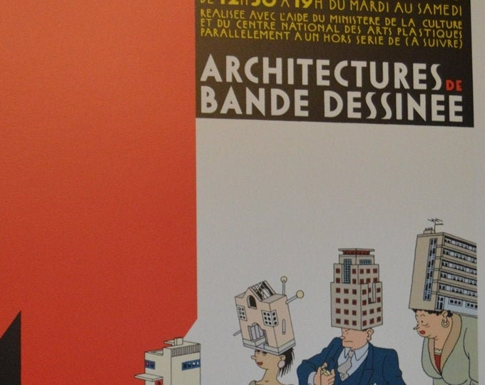Attention Travaux! Architectures de Bande Dessinee ( 1983) Joost Swarte. Carto print. Poster firmado
