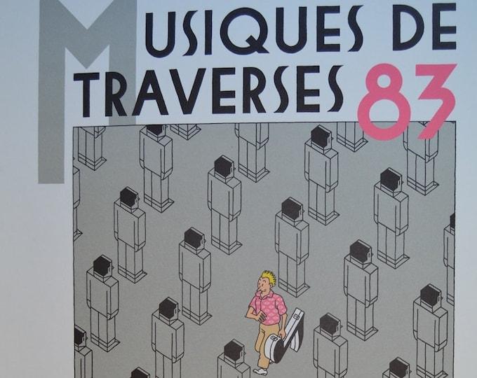 Musiques de Traverses (1983) Joost Swarte. Carto print. Signed poster