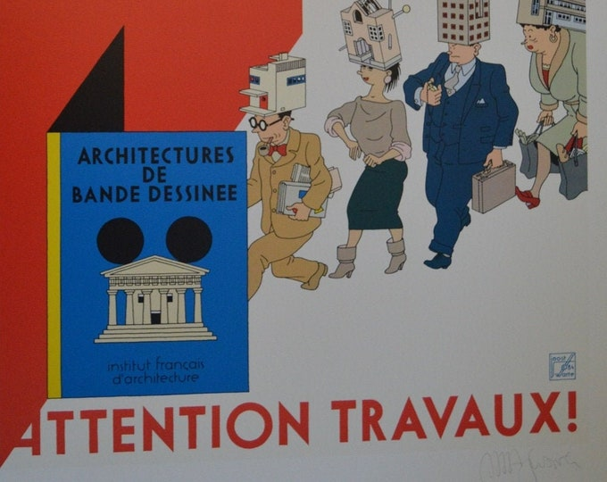 Attention Works! Drawing Band Architectures (1983) Joost Swarte. Carto print. Poster firmado