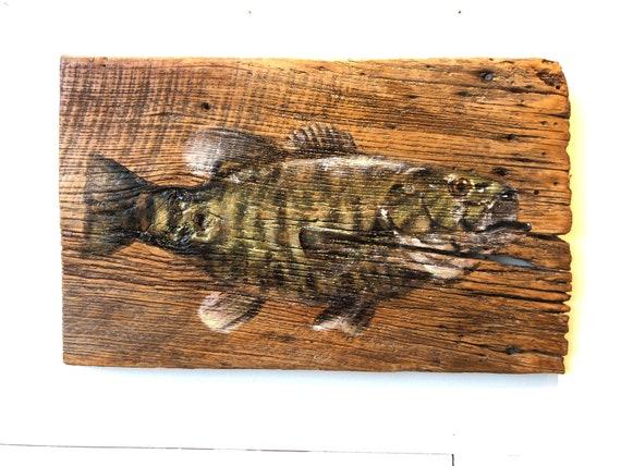"Bass Fish on Barn wood 13""x21"""
