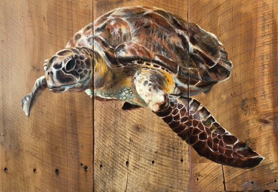 "Sea Turtle on Barn wood - 25"" x 36"""