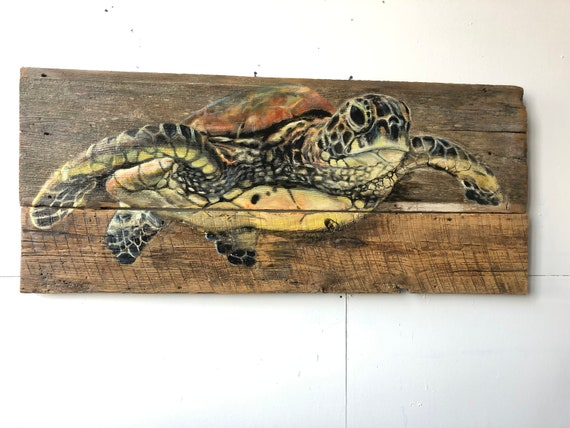 "Sea Turtle on Barn wood - 20"" x 48"""