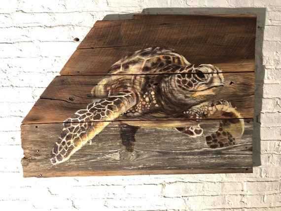 "Sea Turtle on barn wood 31""x 48"""