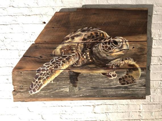 """SOLD Sea Turtle on barn wood 31""""x 48"""""""