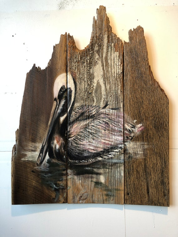 "Pelican on Barnwood 32"" x 40"""