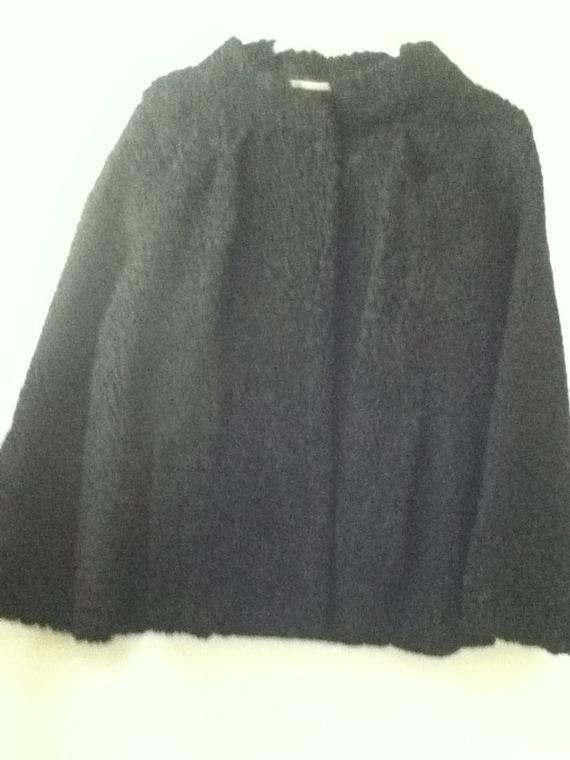 Women's Vintage 40's Black Curly Lambswool Jacket