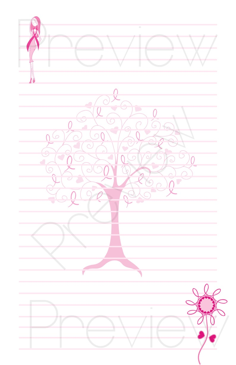 Cute Stationery Set for Pen Pals Custom Available Snail Mail Writing Awareness Dress Ribbon for Breast Cancer Awareness Letter Set