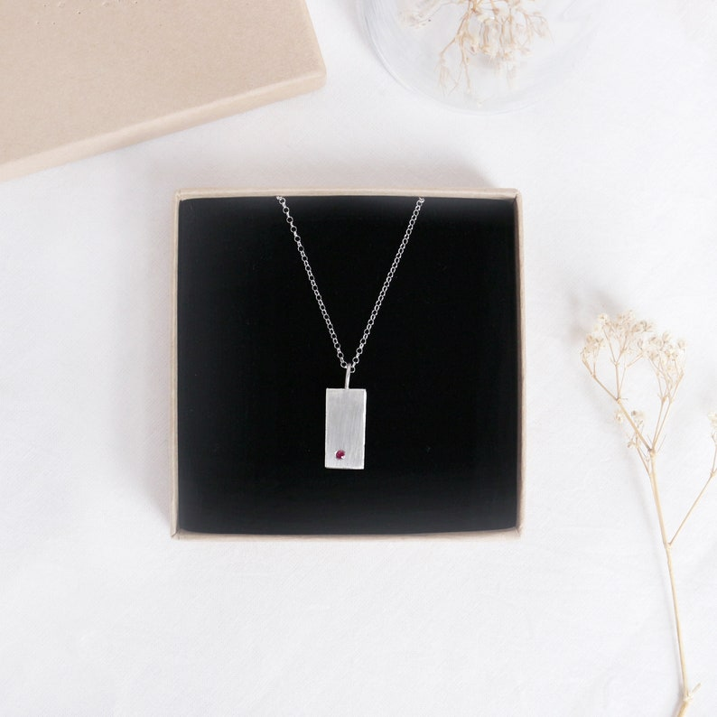 Dainty CZ Necklace Rectangle Delicate Pendant Pink Diamond Necklace Sterling Silver Square Medallion Necklace Layered Pendant Necklace