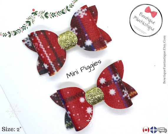 Stocking Filler Christmas Gift Kids Bows Party Outfit Red Tartan Pigtail Bows Toddler Bows Set of 2