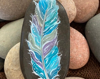 Feather Stone Engraved River Pebble Feather Worry Stone