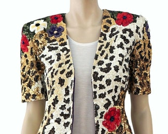 d76ceb7a VALENTINO BOUTIQUE Vintage Leopard Floral Sequin Jacket Top Small