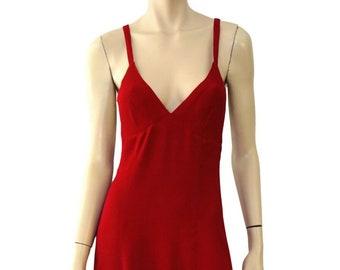 4545971677d OSSIE CLARK Vintage Red Moss Crepe Halter Maxi Dress Sz 6