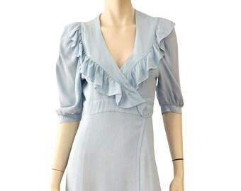 a222dbd658b OSSIE CLARK for Radley Powder Blue Moss Crepe Bridget Maxi Dress