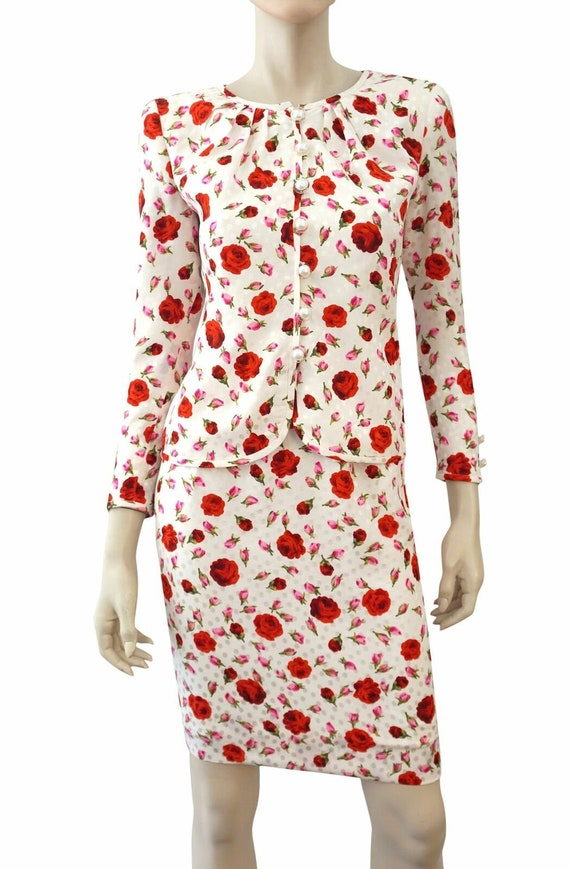 VALENTINO NIGHT Vintage 2 piece Floral Print White