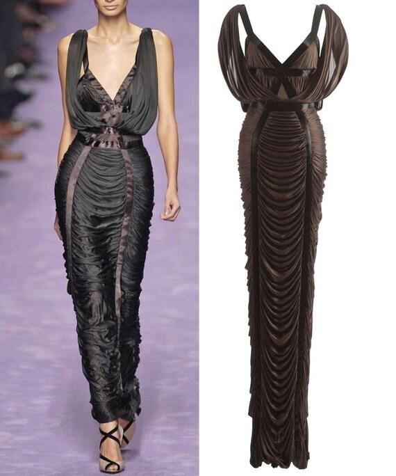 Tom Ford Yves Saint Laurent Coffee Silk Column Gown Dress Etsy