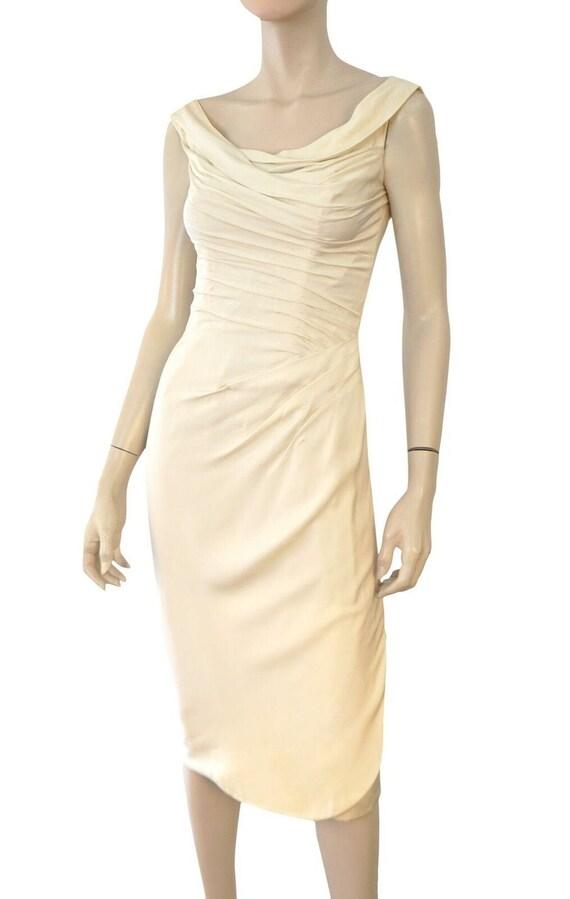 CEIL CHAPMAN Vintage 50's Ivory Silk Satin Ruched