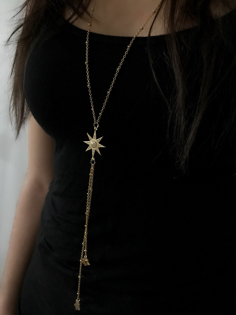 Gold Stainless Steel long Chain with star Pendant
