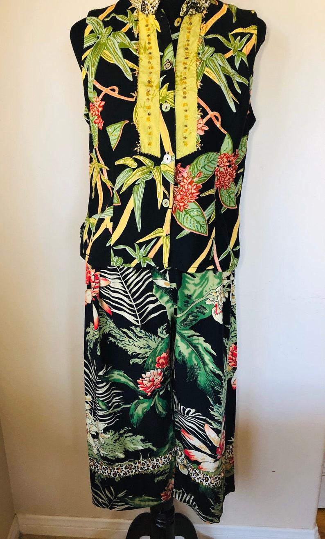 FAITH Resortwear 2-Piece Sleeveless Casual Pantsuit Tropical Pattern L
