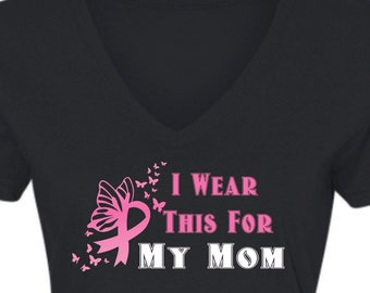 I Wear This For Breast Cancer Awareness Ladies V-Neck T-Shirt, Breast Cancer T-Shirt, Breast Cancer Shirt, Breast Cancer Support Tee, cancer