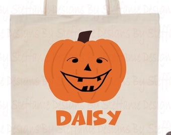 Personalized Halloween Bag, Pumpkin Canvas Tote Bag, Halloween Bag, Halloween Tote Bag, Halloween Candy Bag, Candy Bag Halloween, Pumpkin