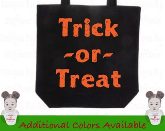 Trick-or-Treat Bag,  Trick-or-Treat Canvas Tote Bag, Halloween Bag, Halloween Tote Bag, Halloween Candy Bag, Candy Bag Halloween, Halloween
