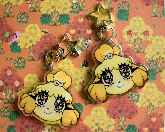 Animal Crossing Kawaii Isabelle Double Sided Acrylic Charm Etsy