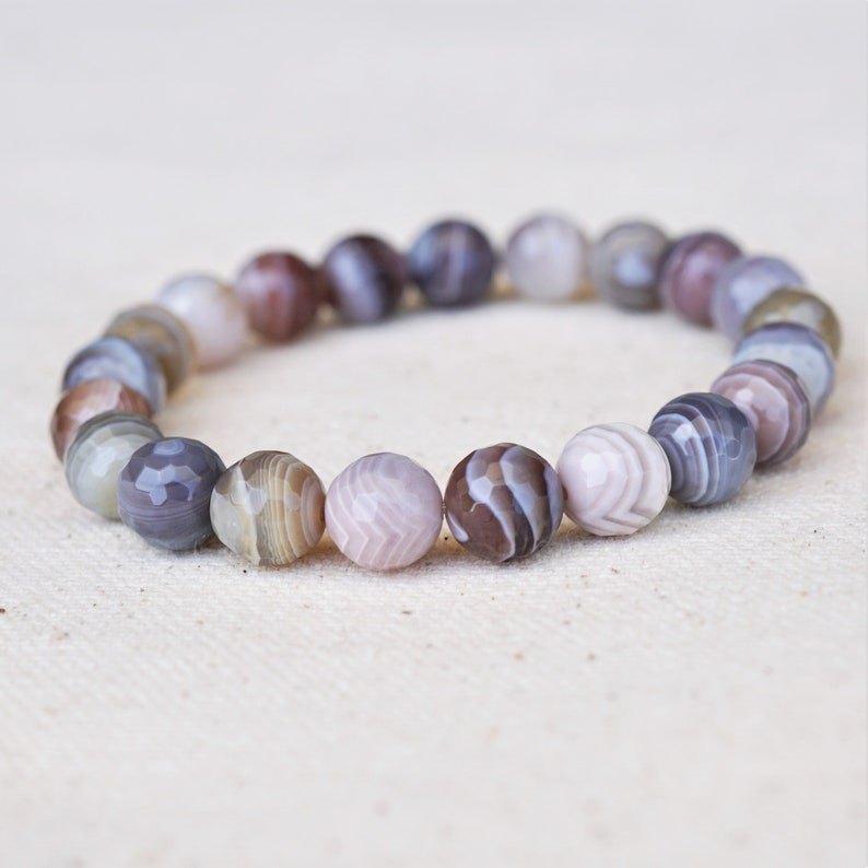 Botswana Faceted Agate Stretch Bracelet