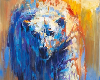 MELTING Print, Polar Bear Print, Bear Canvas, Bear Wall Art, Bear Poster, Bear Art, Bear Decor, Bear Gift, Small Bear Print, Bear Decoration