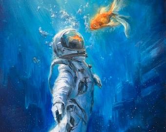 ASTRONAUT Print, Astronaut Canvas, Astronaut  Home Decor, Astronaut Wall Art, Astronaut Poster, Astronaut Print, Astronaut Artwork, Goldfish