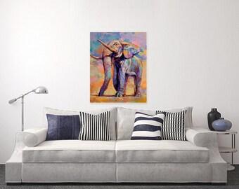 "ORIGINAL PAINTING - ""Strength And Resilience"" 24x30"" Acrylic on Canvas, elephant Decor, Colorful Elephant Vibrant Artwork, Elephant Gifts"