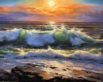 """ORIGINAL PAINTING - """"The Deliverance"""" 24x36"""", Wave Painting, Seascape Artwork, Seascape Decoration, Seascape Original Painting, Waves Art"""