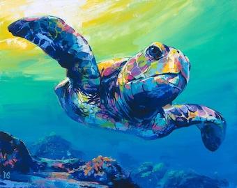 SEA TURTLE Print, Turtle Canvas, Small Turtle Print, Turtle Wall Art, Turtle Poster, Turtle Gifts, Turtle Decorations, Turtle Home Decor