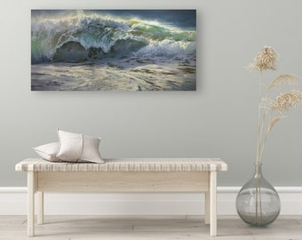 """ORIGINAL PAINTING - """"Churning Tide"""", Wave Painting, Wave Artwork, Wave Gifts, Wave Decoration, Waves Wall Art, Waves Home Decor"""