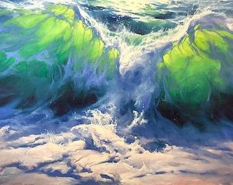 THE HUNT Print, Seascape Poster, Seascape Artwork, Seascape Print, Wave Poster, Seascape Decoration, Seascape Canvas, Ocean Art, eagle art