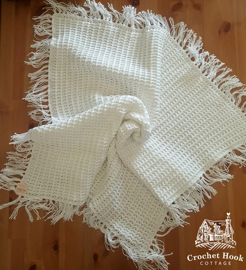 crocheted in cotton yarn size to fit 3-6 months Waffle Hooded Baby Jacket