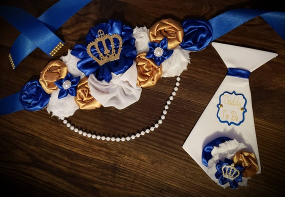 Maternity sash Belt Royal blue gold Crown King white baby shower pictures