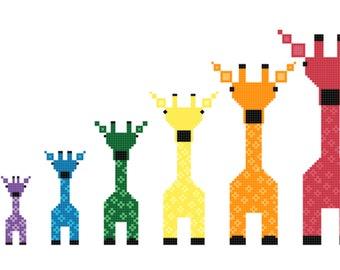 ab1496d0e0e Rainbow Giraffes Instant Download Cross Stitch Pattern