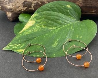 2 sets of Carnelian + Antique Copper Hoop Earrings
