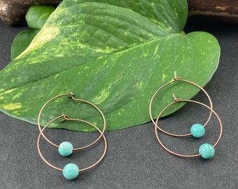 2 sets of Amazonite + Antique Copper Hoops