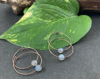 2 Sets of Labradorite Hoop Earrings in Antique Copper