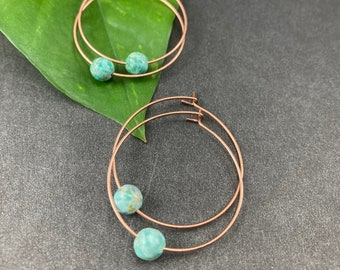 2 sets of Peruvian turquoise & antique copper hoops