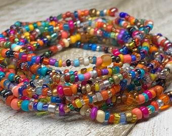 Boho Cloth Bead Crystal Multi-Row Bangles Festival Bollywood Wedding Gift 1 Set