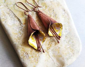 dangle earrings Flowers Earrings Floral Jewelry Yellow Pansy Flowers Copper Hot Enamel Earrings Statement Earrings Flowers Jewelry