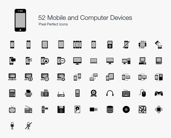 Mobile And Computer Devices Icon Sign Symbol Pictogram Vector Etsy