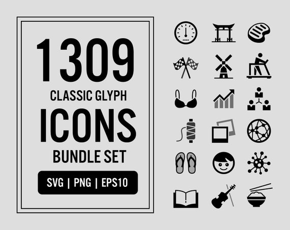 1309 Classic Glyph Vector Icons Bundle Set In Svg Png Eps Etsy